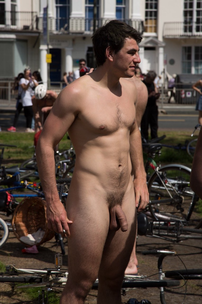 Man naked in public place